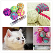 Cat Kitten Sisal Rope Ball Teaser Play Chewing Rattle Scratch Catch Toy