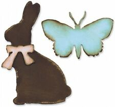 Tim Holtz Sizzix Die Cut Vintage Easter Spring Chocolate Bunny Butterfly Rabbit
