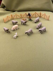 Britains Farm Sheep,lamb,shepherd,sheep Dog And Fencing Vintage Models 1/32