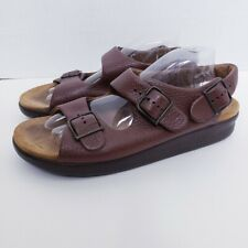 SAS Relaxed Women's Brown Triple Strap Buckle Slingback Sandals Size 11