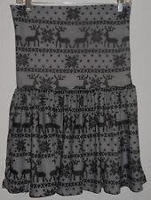 NWT Junior's dELIA'S brand FOLD OVER Skirt, Size SMALL GRAY REINDEER FAIRIS