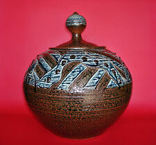 "Very Large & Early JIM CONNELL Studio Pottery Covered Jar - 13 1/4""H x 12 1/4""W"