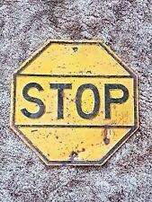 "Vintage Wwii Era Yellow Steel Stop Sign, 18"" x 18"", Original"