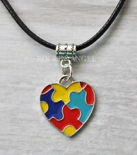 Autism Awareness Bright Puzzle Heart Pendant Necklace Unisex Gift Family Jigsaw