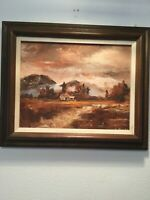 Original Mid Century Signed Expressionism Rural Oil Painting Mountain Valley