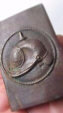WWI German POW Brass Match Safe, Scarce Pickelhaube Helmet Design, Trench Art