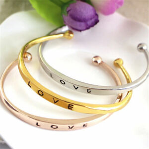 NEW Fashion Women's Stainless Steel Screw Hand Love Wedding Cuff Bangle Bracelet