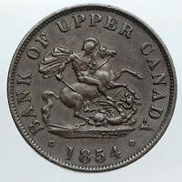1854 UPPER CANADA Antique UK Queen Victoria HALF PENNY BANK TOKEN Coin i90542