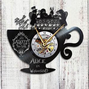 Alice in Wonderland Clock, Vinyl Record Wall Clock, Gift Decor