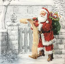 2 single paper napkins for Decoupage New Year Christmas gifts Santa Snow
