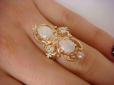 14K YELLOW GOLD MULTICOLOR OPALS AND GENUINE DIAMONDS HAND MADE LADIES RING