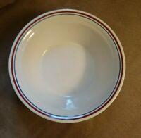 "4 EUC Corelle Abundance Soup Cereal Bowl Red Blue Stripe 6-3/4"" Tan Set of 4"