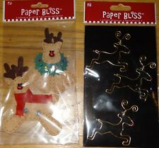 Christmas Paper Bliss Set of 2 Reindeer Dimensional Stickers Scrapbooking