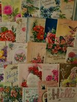 63 Vtg Birthday Greeting Card Scrapbook Crafts Flowers,Mother,Wife,Niece,Lot A