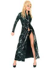 New Women Instyles Black Faux Leather PVC Long Gothic Coat Fancy Dress
