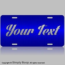 Personalized Custom License Plate Auto Car Tag Blue and Textured Silver Text @/@