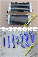 L&R ALUMINUM RADIATOR & 7PCS BLUE HOSE YAMAHA YZ250 E1/F1/G1 2-STROKE 93-95 94