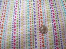 Glittery Colorful Little Hearts, Dots, & Diamonds Stripe on White Flannel Fabric