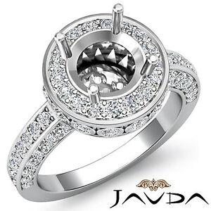 Pave Diamond Engagement Designer Filigree Ring 14k W Gold Round Semi Mount 0.7Ct