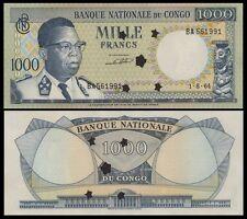 Congo Dem. Rep. 1000 Francs 1964 P8 AU/UNC
