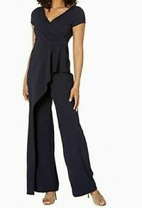 Adrianna Papell Womens Jumpsuit Blue US Size 12 V-Neck Wide-Leg Crepe $199- 341