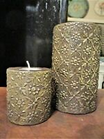 Pair Vintage ZODAX Votive Tea Light CANDLE HOLDER Brass Clad Wood Made in India