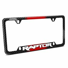 Red Racing Stripe Carbon Fiber 50 States License Frame - Ford F-150 Raptor
