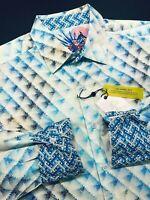 Robert Graham Large Mens Shirt Cedar Diamond Blue Vibrant Long Sleeve New $198