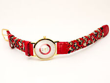 INFINITY: WOMEN GENUINE ANTIQUE LOOK RED LEATHER BAND ANALOG QUARTZ WATCH