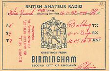 Old QSL fromEdwin Hill, Butler Str, Birmingham, England (14/11/1938)