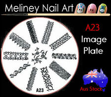 A23 Stamping Nail Art Image Plate Design Round XL Stencil metal