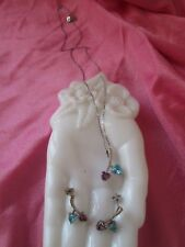 NEW Sterling Silver 925 Necklace & Earring Set Amethyst & Blue Topaz Heart Shape