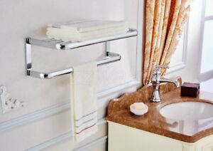 Polished Chrome Bath Accessory Towel Rail Holder Storage Rack Shelf Bar ZD892