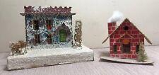 vtg Large Putz Cardboard Christmas house lot Loofah Trees Japan & Brick House