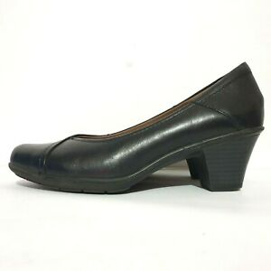Planet Shoes Sz 7 Black Paige Leather Slip On Comfort Heels Work Office Business