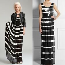 New Alice By Temperley Black & White Sequin Striped Daphne Maxi Long Dress,UK12