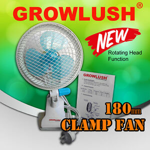 180mm Oscillating Clamp Clip Fan Home Ventilation Hydroponic Grow Light Tent Kit