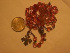chapelet ancien argent et cristal rose antique st silver pink crystal  rosary