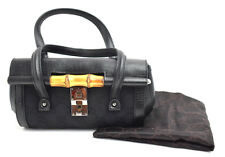 Authentic Gucci Bamboo Collection Canvas and Leather Evening Bag Handbag Black