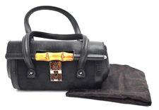 Authentic Gucci Bamboo raccolta in tela e pelle evening bag black