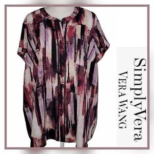 SIMPLY VERA VERA WANG Women's Plus Size 3X Purple Short Sleeve Button Front Top
