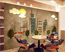 3D Cartoon City Tall House 5 Paper Wall Print Wall Decal Wall Deco Indoor Murals