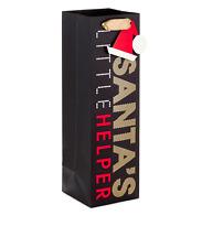 """Santa's Little Helper Black Gold Christmas Bottle Gift Bag 13""""  Hallmark 4-pack"""