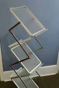 Pop Up Collapsible Trade Show Literature Rack Frosted Clear & Silver w/ Case