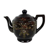 Vintage Redware Brown Teapot Vintage Ceramic Tea Pot Japan Handpainted