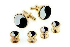 Yin Yang Onyx and MOP Yellow Gold Plated Studs and Cufflinks Set