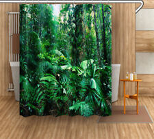 Tropical Rain Forest Jungle Green Leaves Fabric Shower Curtain Set Hooks 72x72""