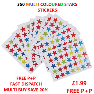 350  MULTI COLOURED REWARD CHART STARS SCHOOL TEACHER STICKERS MERIT OFFICE 15mm