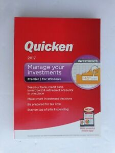 Intuit Quicken Premier 2017 For Windows (New! Factory sealed retail DVD Case)