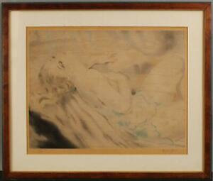1920s Antique Signed Ltd Ed MICAO KONO Art Deco Lithograph Print, Nude Woman NR